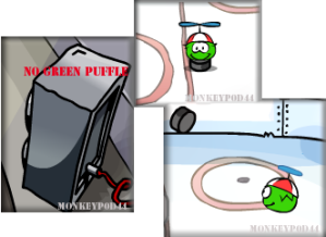 Green Puffle at the Ice Rink