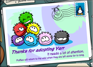 New Puffle Adoption Postcard